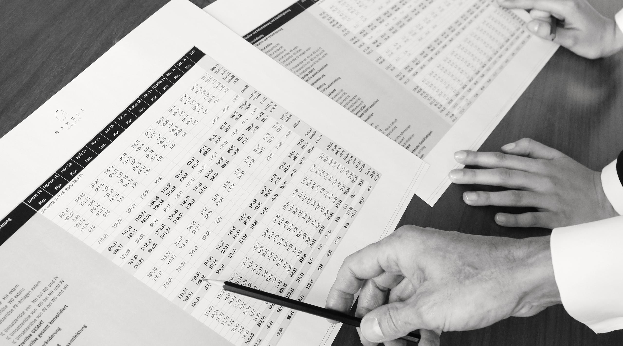 Unternehmensberater mit Finanzierungsplänen